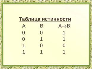 Таблица истинности  А В АВ  0 0 1  0 1 1 1 0 0 1 1 1