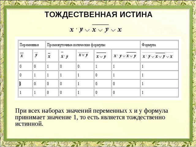 ТОЖДЕСТВЕННАЯ ИСТИНА При всех наборах значений переменных x и y формула прини...