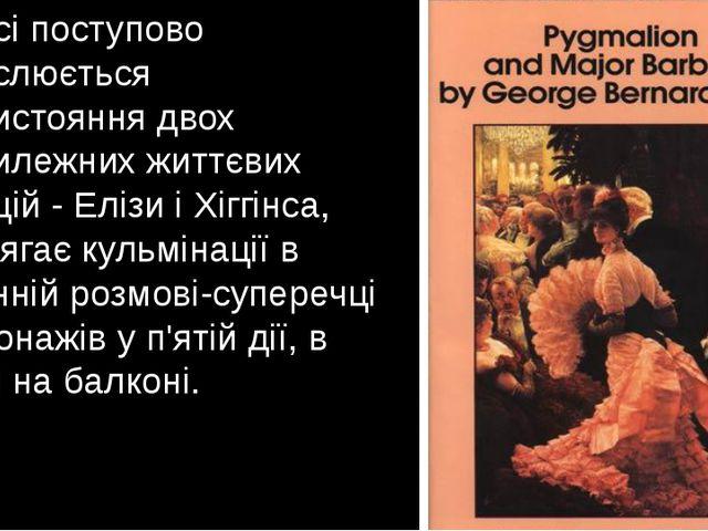 У п'єсі поступово окреслюється протистояння двох протилежних життєвих позицій...