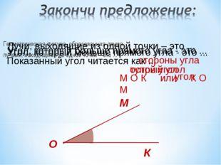 Геометрическая фигура, образованная двумя лучами, исходящими из одной точки –