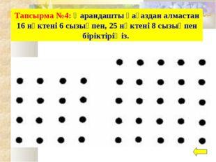 Тапсырма №4: Қарандашты қағаздан алмастан 16 нүктені 6 сызықпен, 25 нүктені 8