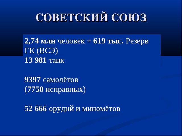 СОВЕТСКИЙ СОЮЗ 2,74 млнчеловек +619 тыс.Резерв ГК (ВСЭ) 13 981танк 9397с...