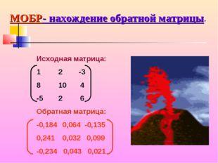 Исходная матрица: 12 -3 8104 -526 Обратная матрица: -0,184 0,064