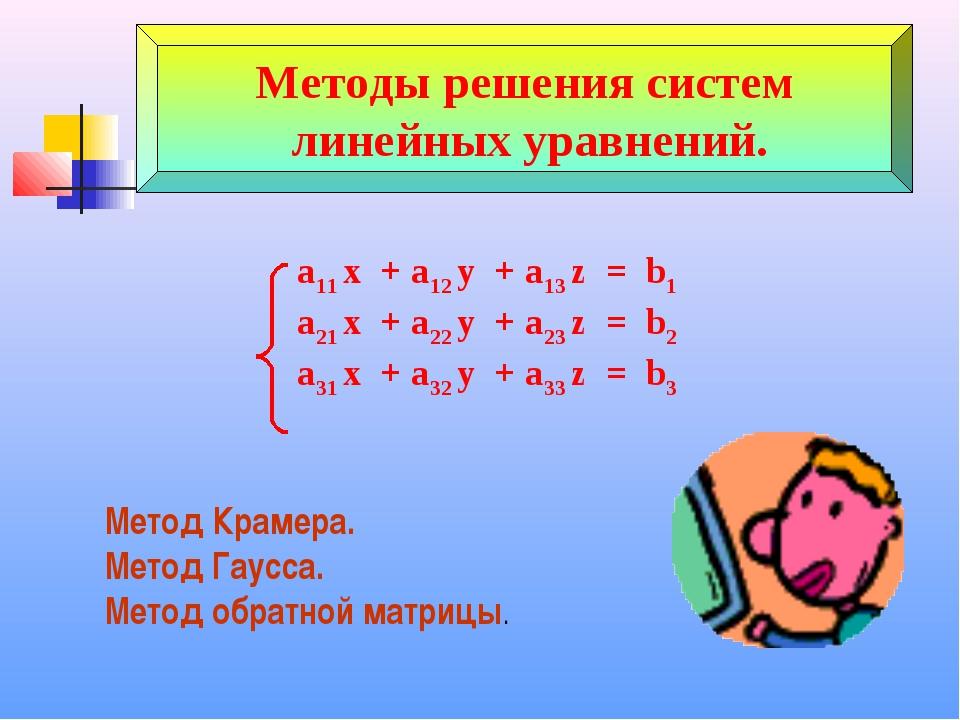 Методы решения систем линейных уравнений. a11 x + a12 y + a13 z = b1 a21 x +...
