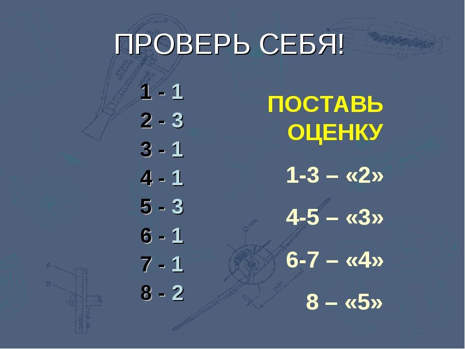 ПОСТАВЬ ОЦЕНКУ 1-3 – «2» 4-5 – «3» 6-7 – «4» 8 – «5» ПРОВЕРЬ СЕБЯ! 1 - 1 2 -...