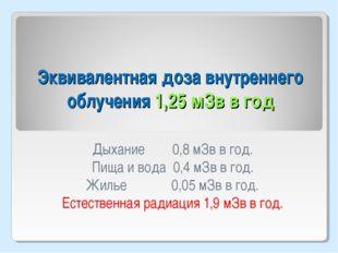 Эквивалентная доза внутреннего облучения 1,25 мЗв в год Дыхание 0,8 мЗв в год