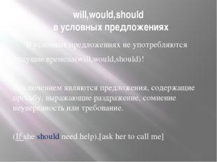 will,would,should в условных предложениях В условных предложениях не употребл