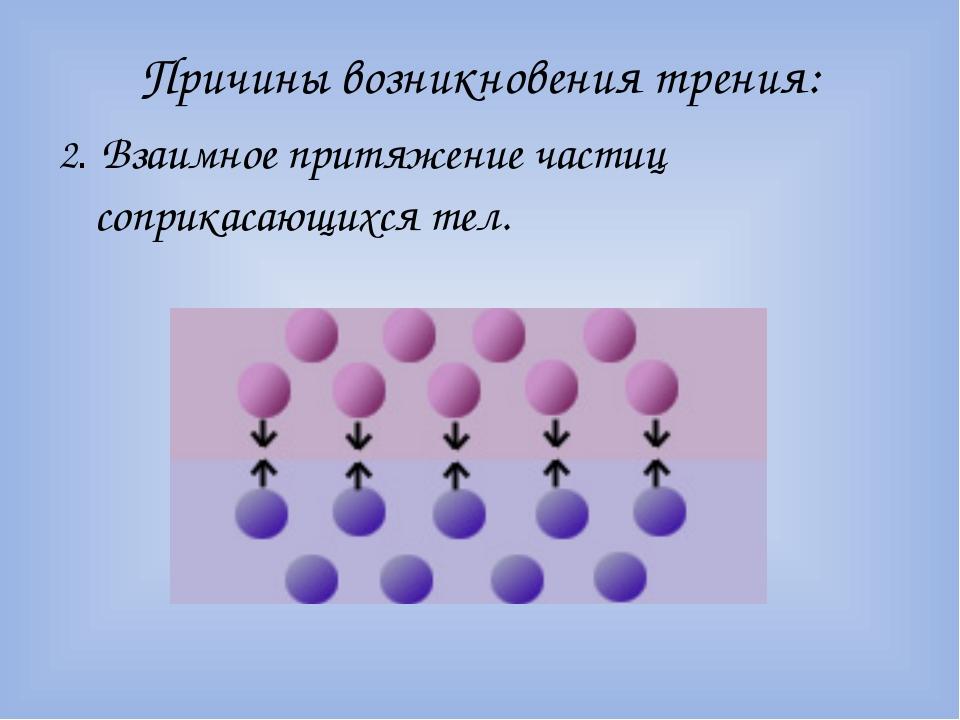 Причины возникновения трения: 2. Взаимное притяжение частиц соприкасающихся т...