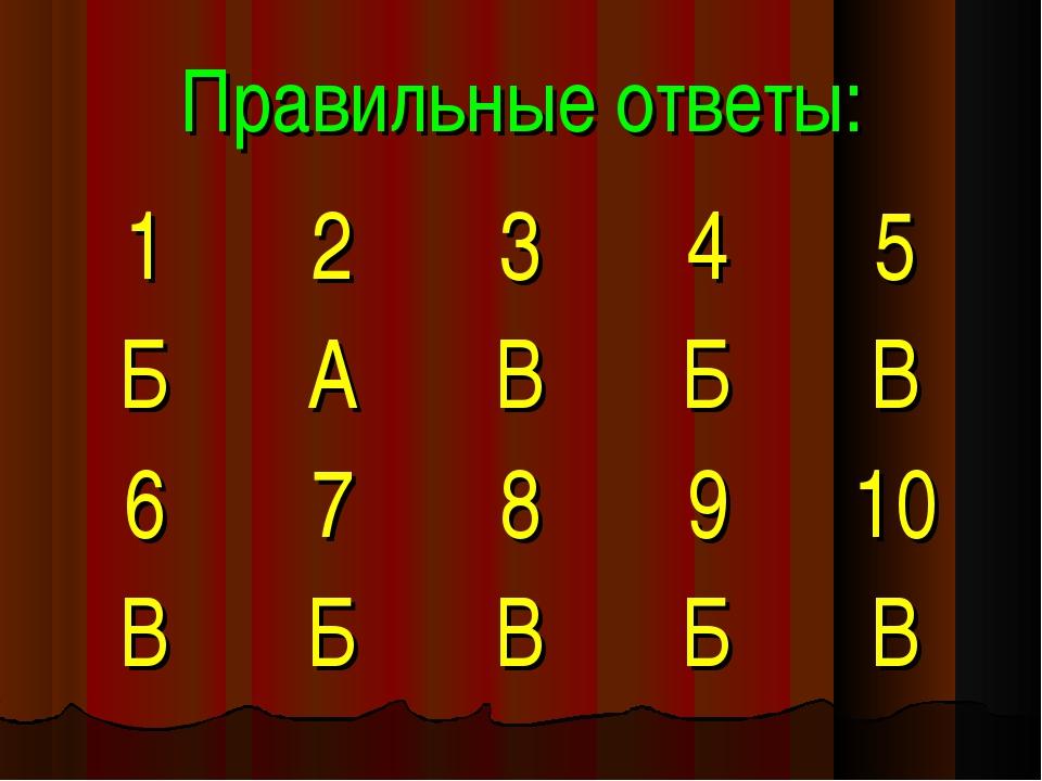 Правильные ответы: 12345 БАВБВ 678910 ВБВБВ