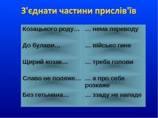 Козацького роду…… нема переводу До булави…… військо гине Щирий козак…… тре