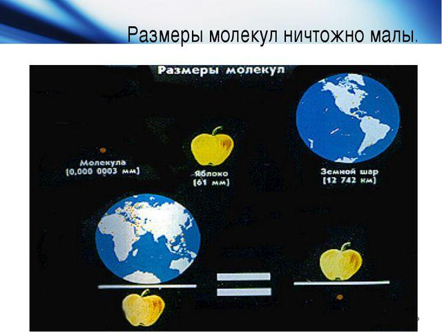 Размеры молекул ничтожно малы. Company Logo Company Logo