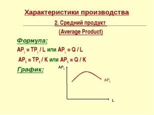 Характеристики производства 2. Средний продукт (Average Product) Формула: АРL