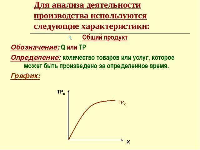 Для анализа деятельности производства используются следующие характеристики:...