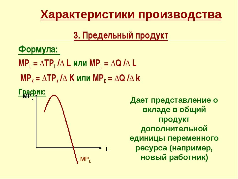 Характеристики производства 3. Предельный продукт Формула: МРL = ∆TРL /∆ L ил...