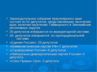 Законодательное собрание Красноярского края состоит из 52 депутатов, предста