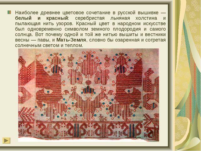 Наиболее древнее цветовое сочетание в русской вышивке — белый и красный: сере...
