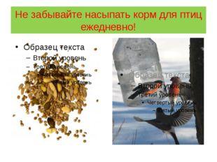 Не забывайте насыпать корм для птиц ежедневно!