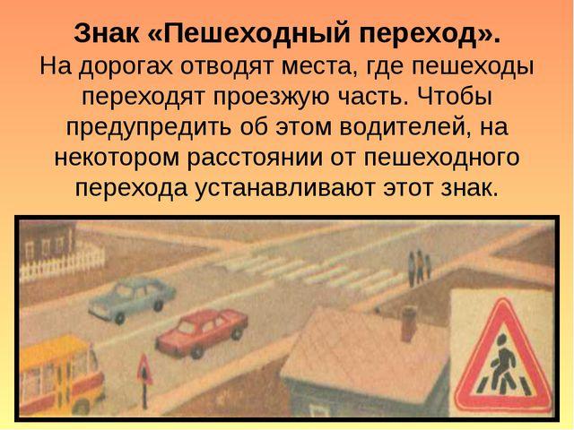 Знак «Пешеходный переход». На дорогах отводят места, где пешеходы переходят п...