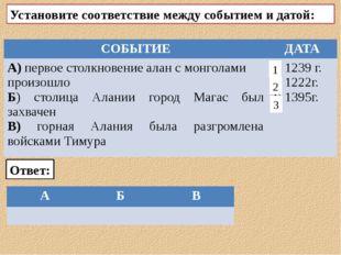 Установите соответствие между событием и датой: Ответ: 2 1 3 СОБЫТИЕ ДАТА А)
