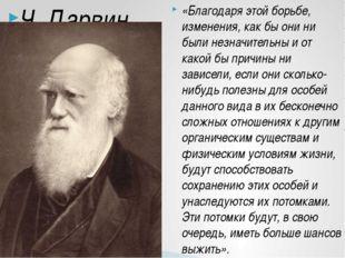 Ч. Дарвин «Благодаря этой борьбе, изменения, как бы они ни были незначительны