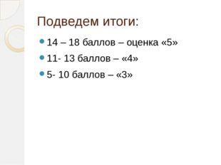 Подведем итоги: 14 – 18 баллов – оценка «5» 11- 13 баллов – «4» 5- 10 баллов