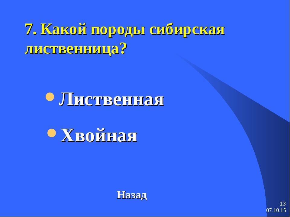 * * 7. Какой породы сибирская лиственница? Лиственная Назад Хвойная