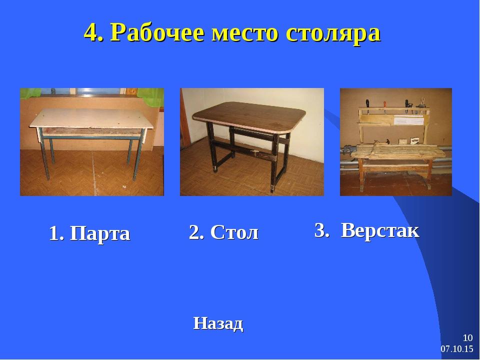 * * 4. Рабочее место столяра 3. Верстак Назад 1. Парта 2. Стол
