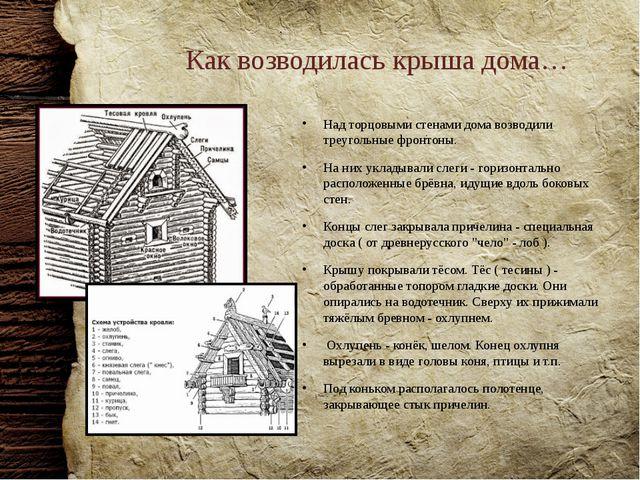 Как возводилась крыша дома… Над торцовыми стенами дома возводили треугольные...