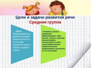 Цели и задачи развития речи Средняя группа Цель: формирование у детей языково