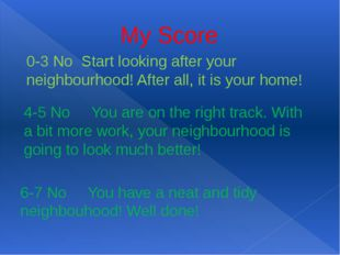 My Score 0-3 No Start looking after your neighbourhood! After all, it is your