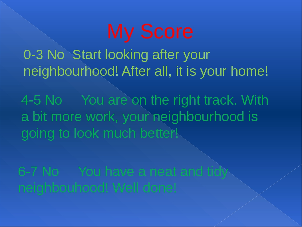 My Score 0-3 No Start looking after your neighbourhood! After all, it is your...