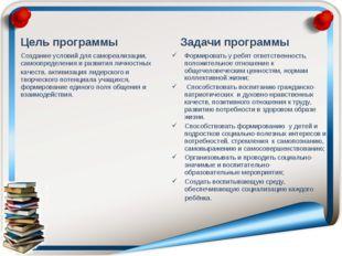 Цель программы Создание условий для самореализации, самоопределения и развити