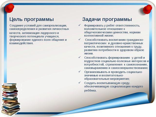 Цель программы Создание условий для самореализации, самоопределения и развити...