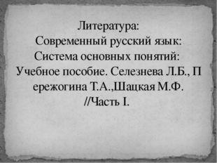 Литература: Современныйрусскийязык: Системаосновныхпонятий: Учебноепос