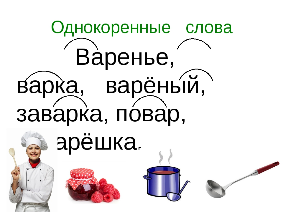Однокоренные слова Варенье, варка, варёный, заварка, повар, поварёшка.