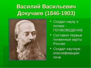 Василий Васильевич Докучаев (1846-1903) Создал науку о почвах - ПОЧВОВЕДЕНИЕ