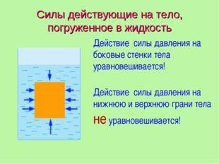 Силы действующие на тело, погруженное в жидкость Действие силы давления на бо