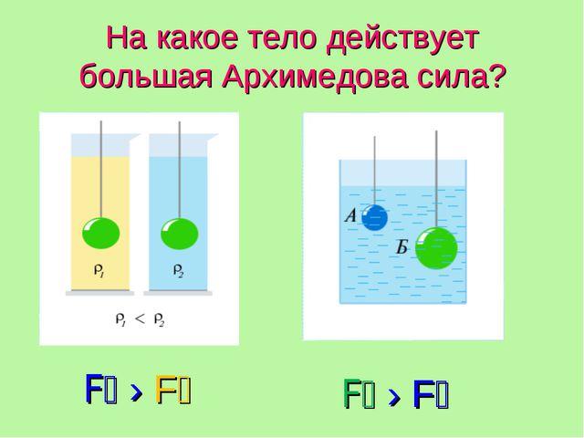 На какое тело действует большая Архимедова сила? F₂ › F₁ F₂ › F₁