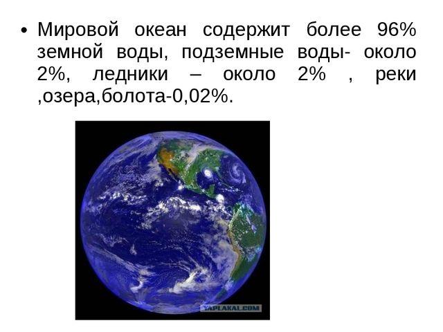 Мировой океан содержит более 96% земной воды, подземные воды- около 2%, ледни...