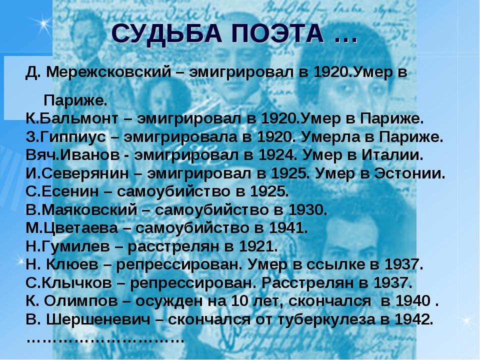 Д. Мережсковский – эмигрировал в 1920.Умер в Париже. К.Бальмонт – эмиг...