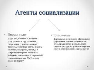 Агенты социализации Вторичные формальные организации, официальные учреждения: