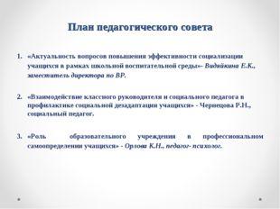 План педагогического совета «Актуальность вопросов повышения эффективности со