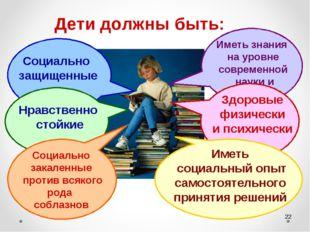 * Дети должны быть: Социально защищенные Нравственно стойкие Социально закале