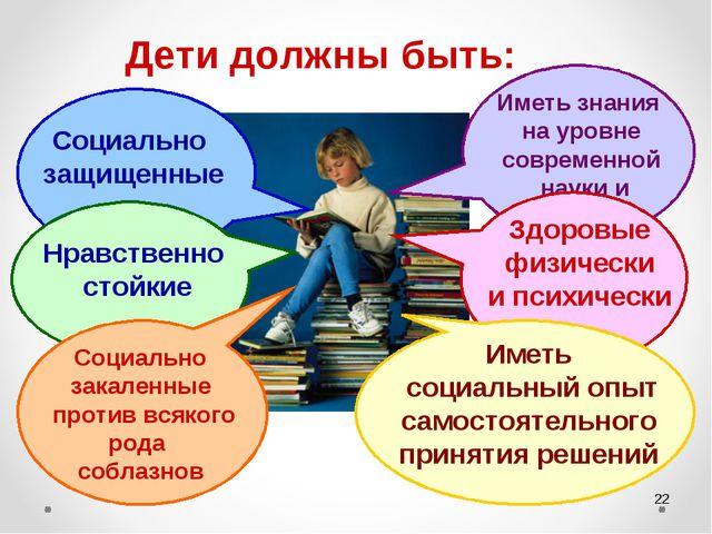 * Дети должны быть: Социально защищенные Нравственно стойкие Социально закале...