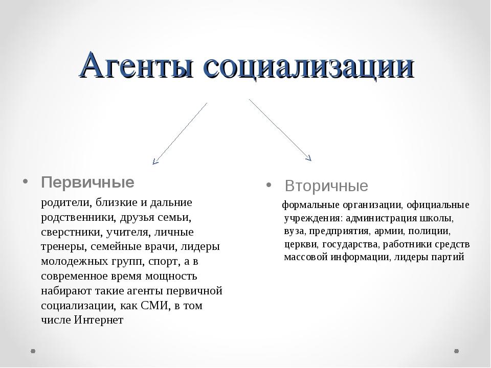 Агенты социализации Вторичные формальные организации, официальные учреждения:...