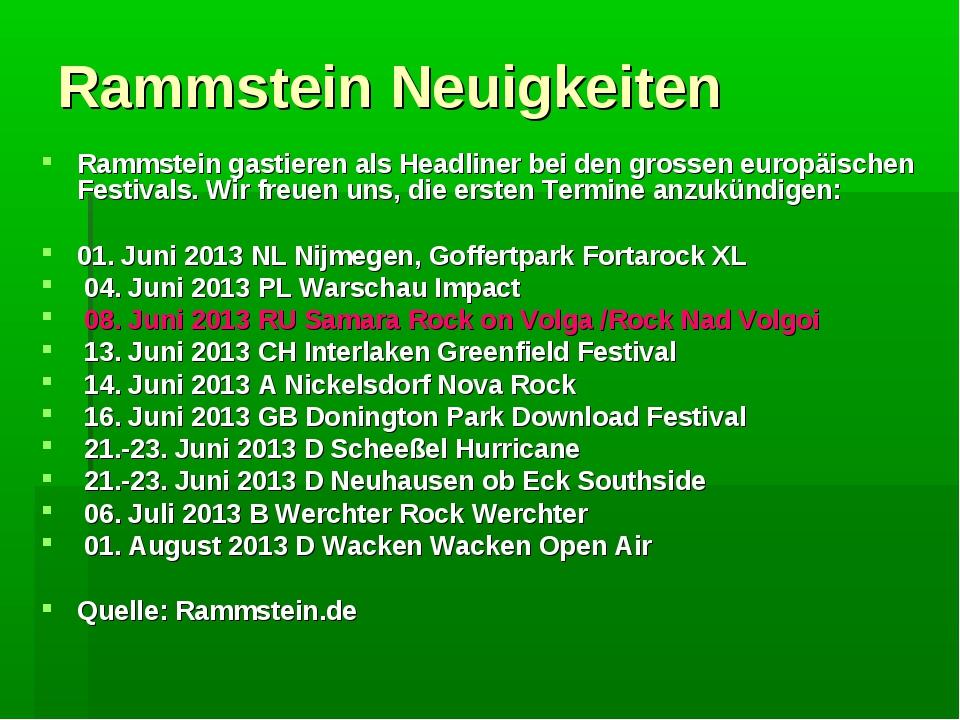 Rammstein Neuigkeiten Rammstein gastieren als Headliner bei den grossen europ...