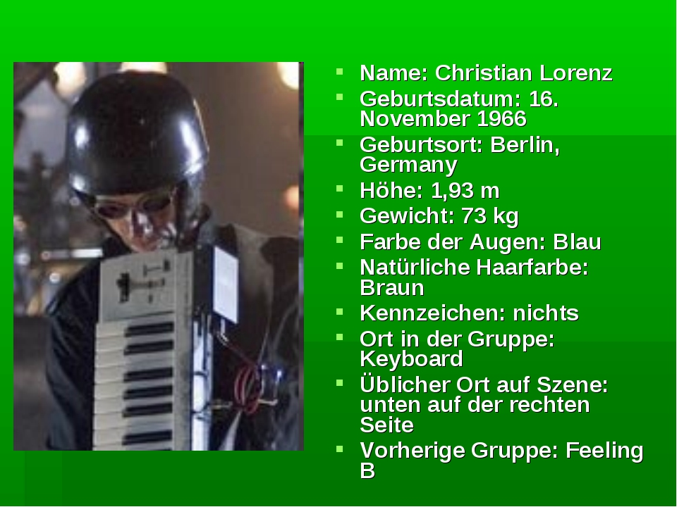Name: Christian Lorenz Geburtsdatum: 16. November 1966 Geburtsort: Berlin, Ge...