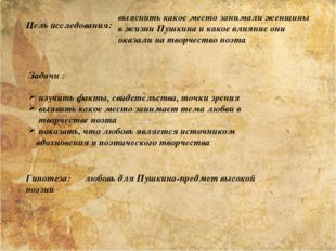 Цель исследования: выяснить какое место занимали женщины в жизни Пушкина и ка