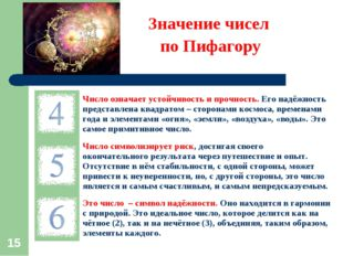 * Значение чисел по Пифагору Число означает устойчивость и прочность. Его на