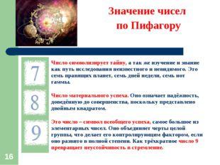 * Значение чисел по Пифагору Число символизирует тайну, а так же изучение и